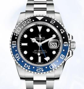 Rolex GMT-Master II 40 mm in 904L steel with a 24-hour rotatable blue and black ceramic Cerachrom bezel insert, black dial and Oyster bracelet.